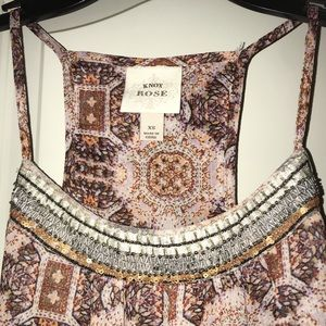 Printed tank top with beading